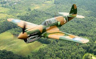 Бесплатные фото over geneseo,p-40n warhawk,самолет,curtiss