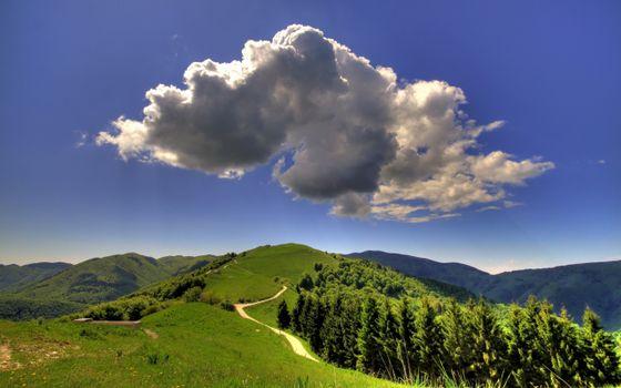 Заставки облако,холмы,деревья,пейзажи