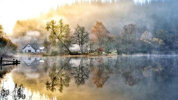 Бесплатные фото дача,утро,дом,берег,озеро,восход,солнце