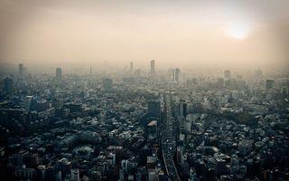 Бесплатные фото город,дома,дорога,небо,солнце,смог