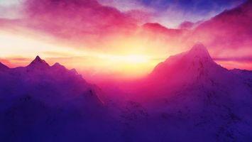 Фото бесплатно снег, закат, небо