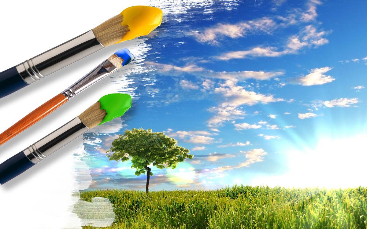 Фото бесплатно кисти, краски, рисунок, небо, облака, деревья, поле, трава, солнце, природа, природа