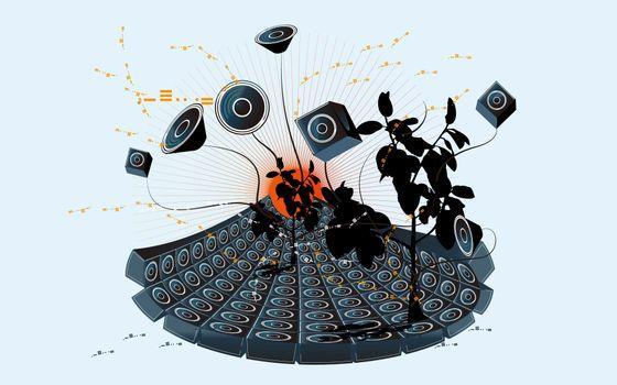 Photo free speakers, audio system, trees