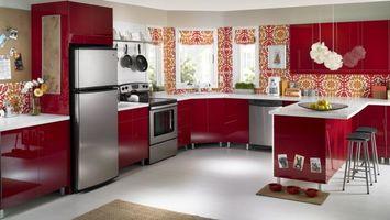 Бесплатные фото кухня, мебель, холодильник, плита, пол, стулья, интерьер