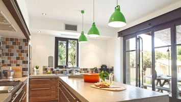 Photo free kitchen, table, lamps