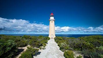 Бесплатные фото маяк,море,тропа,трава,небо,облака,пейзажи