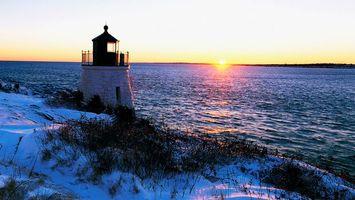 Бесплатные фото море,вода,маяк,снег,зима,холод,небо