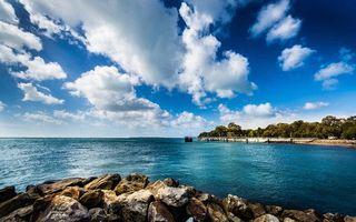 Заставки море, океан, вода, гладь, волны, горизонт, небо