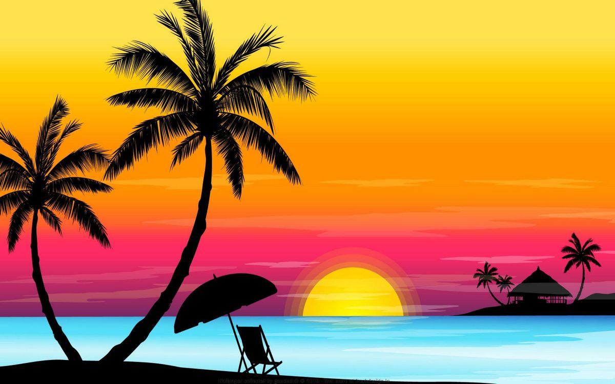 Фото бесплатно пальма, солнце, море, океан, дом, бунгало, зонтик, стул, абстракции, абстракции
