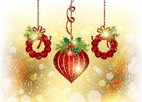 Бесплатные фото рождество, игрушки, веточки, блики, снежинки, круги, новый год