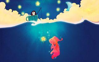 Обои крачная, рыбка, fish, art, ловля, наживка, звезда, рыбалка, рисунок, чашка, разное