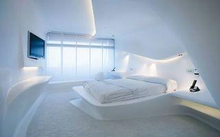 Бесплатные фото спальня, белая, кровать, телевизор, окно, подсветка, интерьер