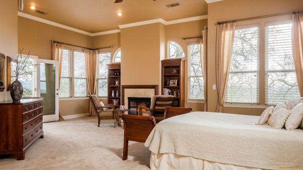 Фото бесплатно спальня, кровать, стулья