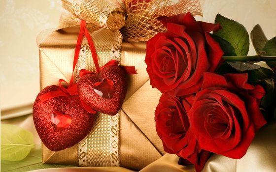 праздник, день святого валентина, розы, сердечки, бантик