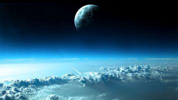 Бесплатные фото новые миры,две планеты,облака,кислород,космос