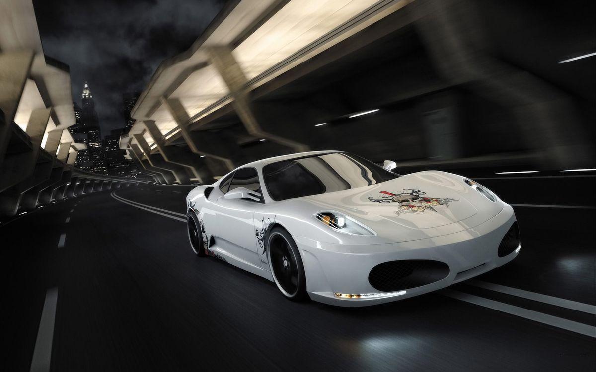 Фото бесплатно авто, машина, дорога, гонки, туннель, трасса, капот, наклейка, освещение, машины, машины