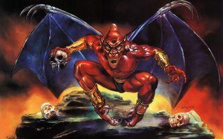Заставки демон, красный, крылья, череп, глаза, уши, аниме
