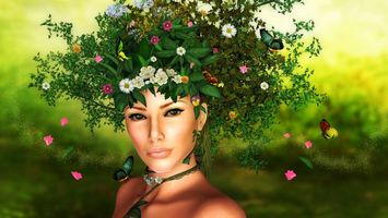 Бесплатные фото девушка,венок,трава,цветы,бабочки,заставка,рендеринг