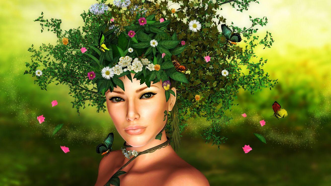 Фото бесплатно девушка, венок, трава, цветы, бабочки, заставка, рендеринг, рендеринг