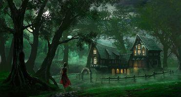 Фото бесплатно девушка, дом, двор