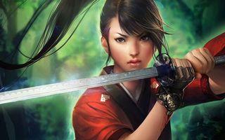 Фото бесплатно женщина, меч, воин