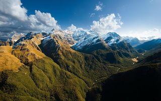 Бесплатные фото горы,закат,вечер,деревья,лес,река,устье
