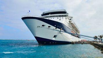 Заставки корабль,огромный,вода,море,пальмы,причал,флаг