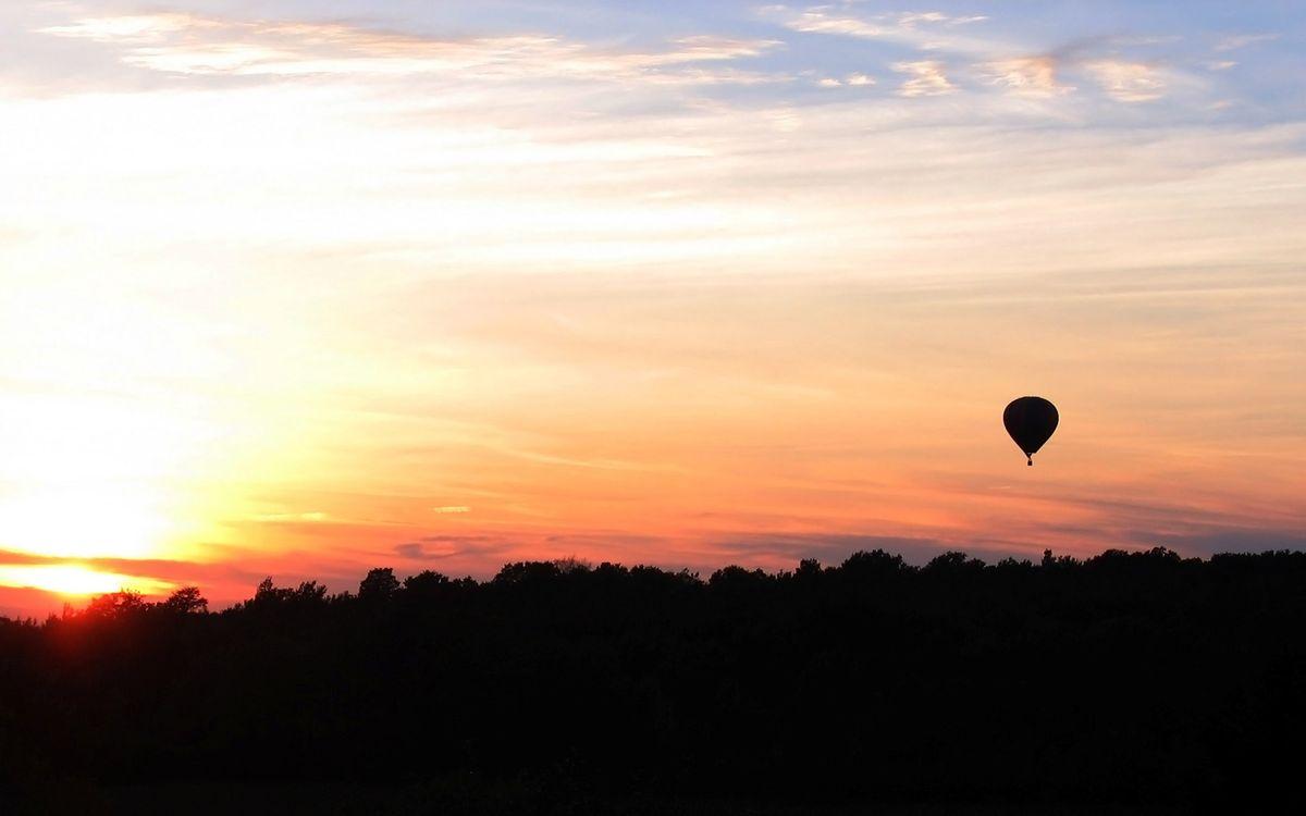 Фото бесплатно лес, деревья, небо, солнца, облака, шар, воздушный, природа, природа - скачать на рабочий стол