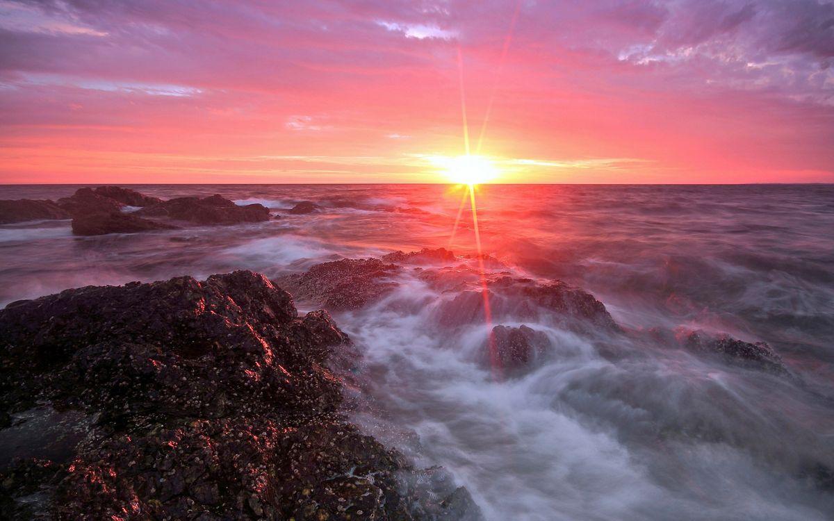 Фото бесплатно море, камни, закат, пейзажи, пейзажи