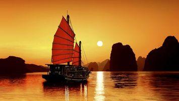 Бесплатные фото парус,корабль,море,океан,волны,вода,закат