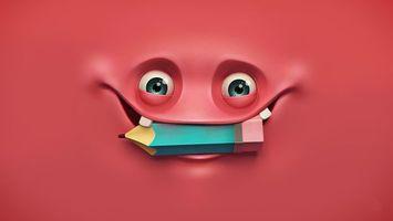 Бесплатные фото рожица,глаза,рот,два зуба,карандашь,улыбка,3d-графика