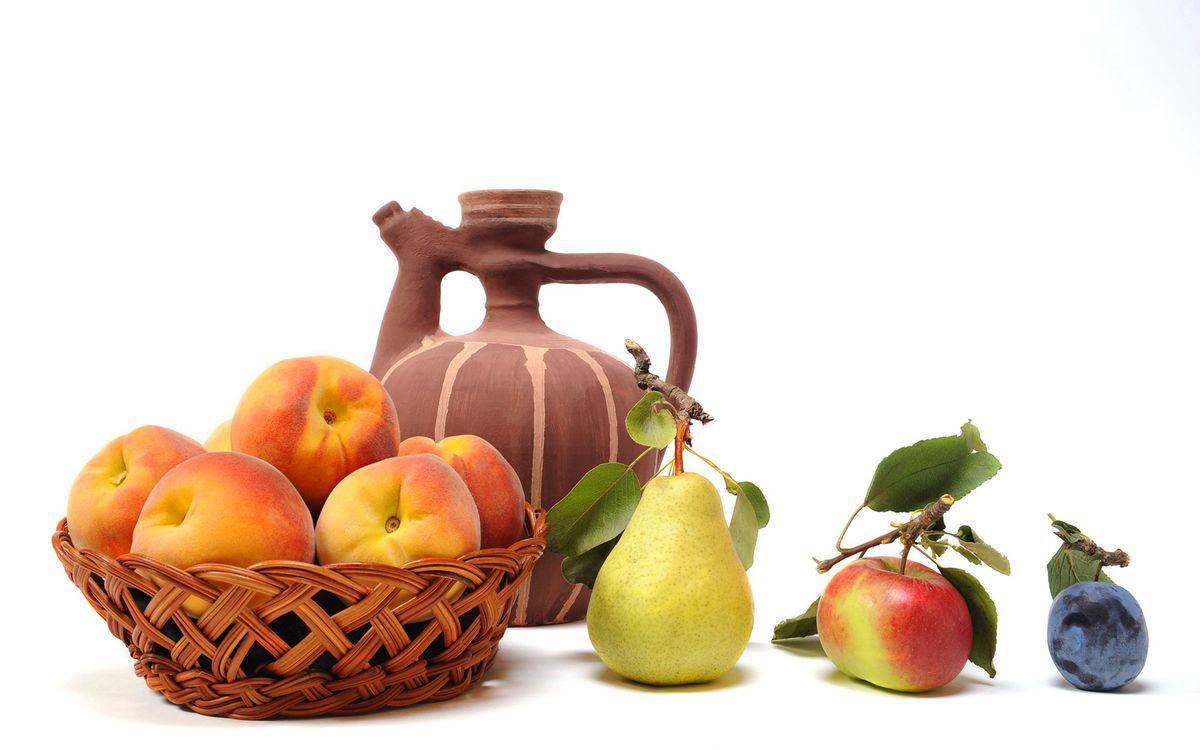 Фото бесплатно слива, яблоко, груша, персики, корзинка, кувшин, еда, еда