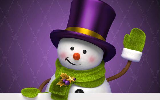 Photo free snowman, cylinder, mitten