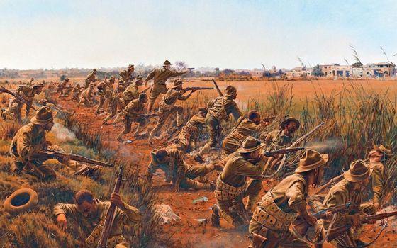 Бесплатные фото солдаты,воины,бой,война,поле,дорога,дома,трава,оружие
