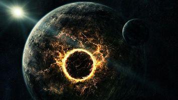 Обои столкновение, планет, спутник, удар, взрыв, лава, температура, энергия, звезда, рендеринг, космос