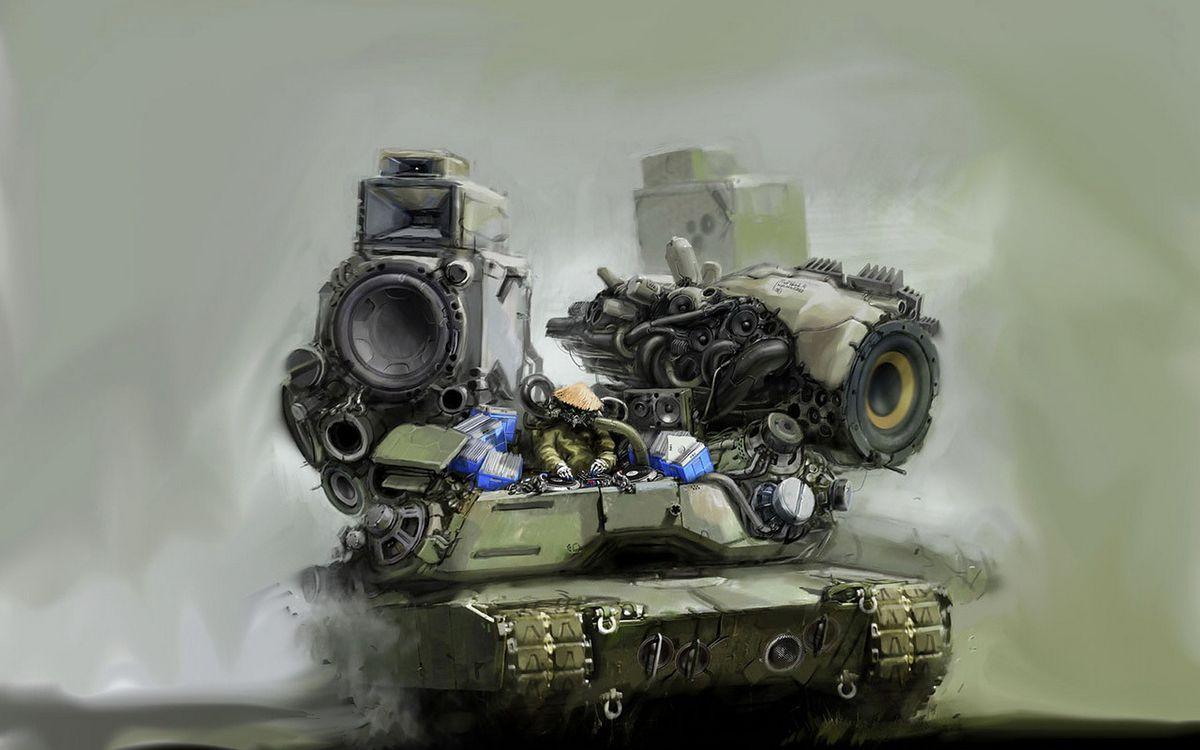 Фото бесплатно танк, музыка, колонки, звук, необычно, интересно, абстракции, абстракции