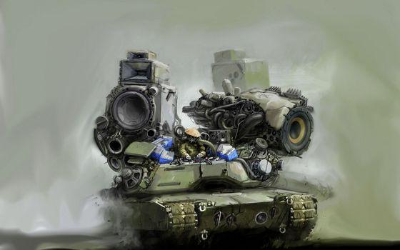 Бесплатные фото танк,музыка,колонки,звук,необычно,интересно,абстракции