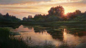 Бесплатные фото вода,отражение,река,деревья,закат,солнце,тучи