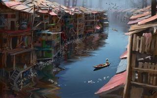 Бесплатные фото вода,течение,лодка,дома,здания,люди,фантастика