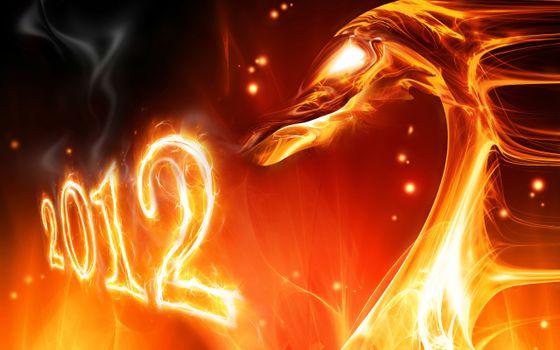 Фото бесплатно дракон, из огня, 2012, новый год, огненные цифры, глаза дракона