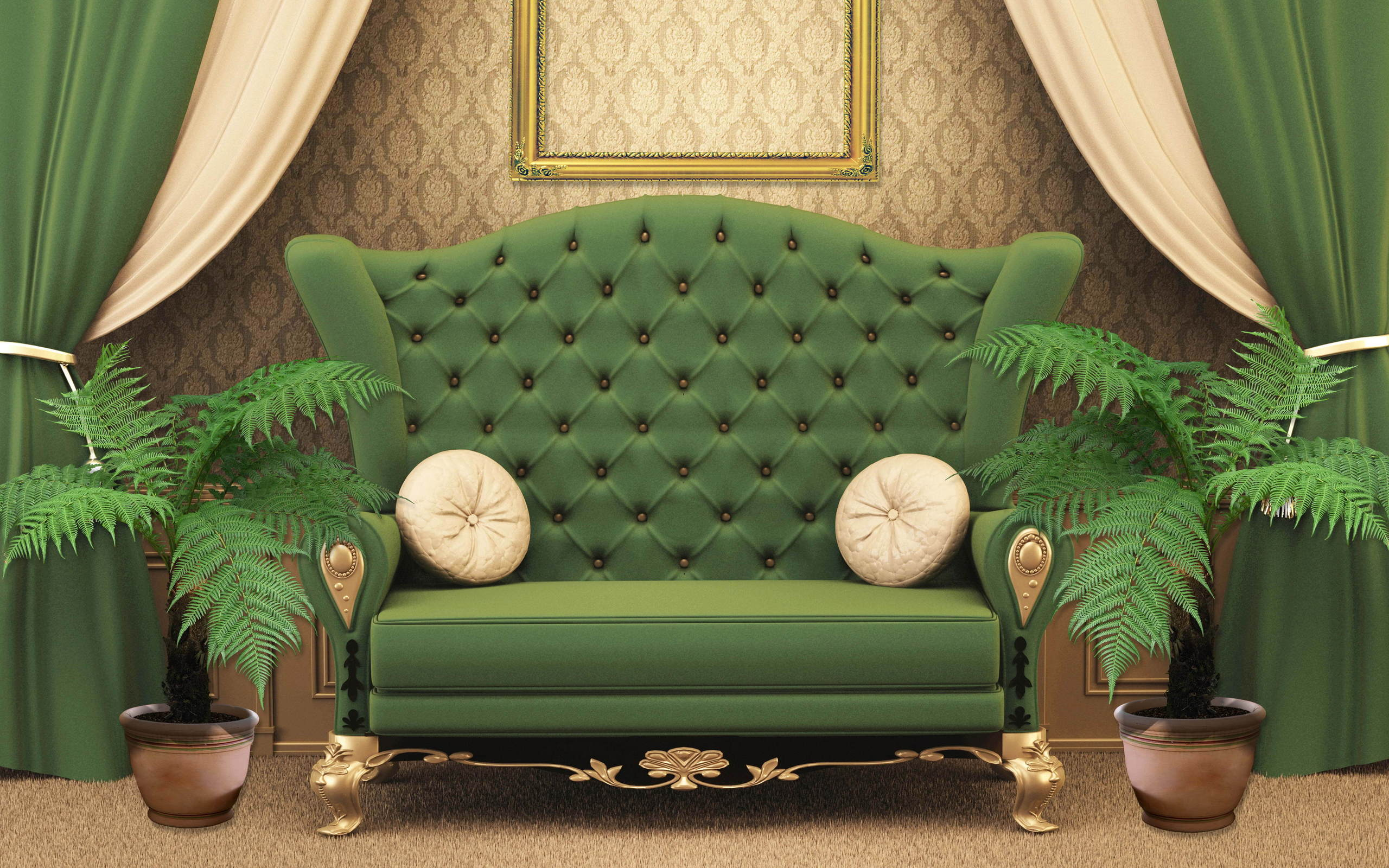 диван, комната, зеленый
