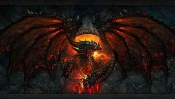 Бесплатные фото дракон,пламя,пасть,крылья,стена,разное