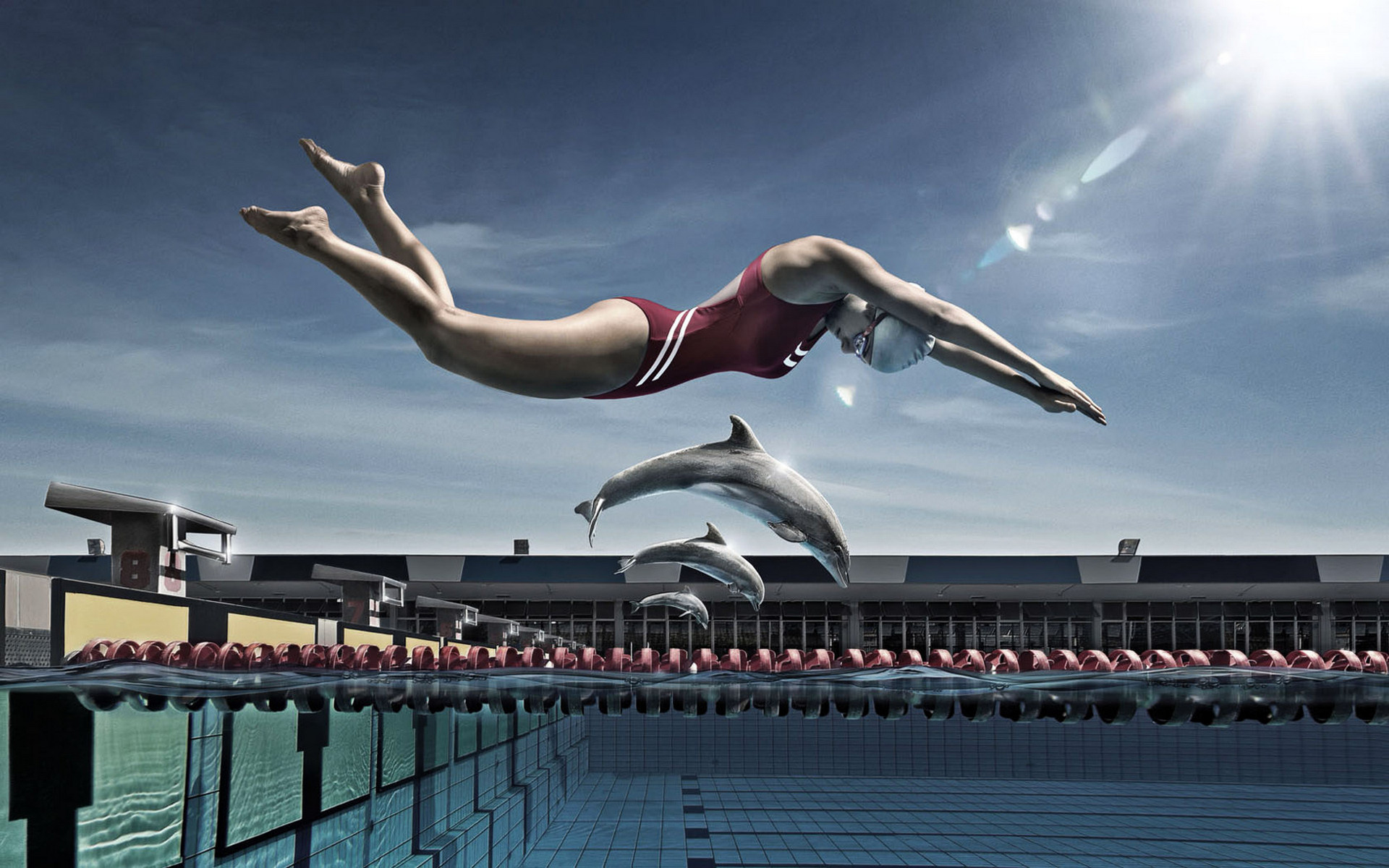 бассейн, соревнование, девушка