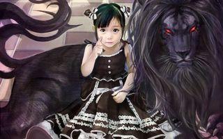 Бесплатные фото девочка, платье, лев, черный, глаза, красные, светятся