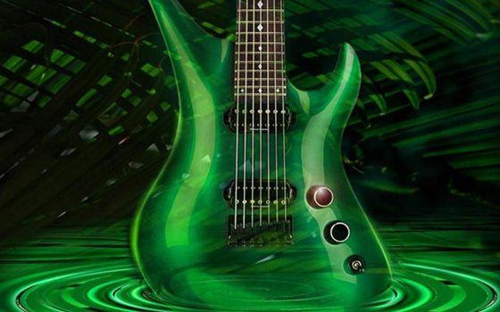 Фото бесплатно гитара, зеленая, тени