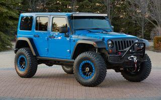Фото бесплатно jeep, голубой, парк, машины