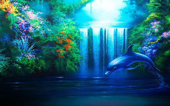Бесплатные фото картина,дельфин,водопад,рисунок,природа,настроение,рендеринг