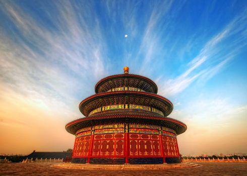 Заставки китай, храм, облака