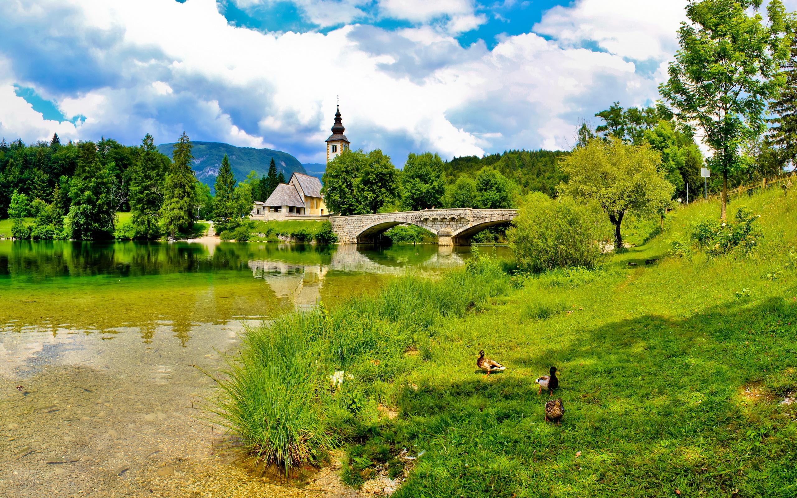 Фото летний пейзаж церковь река мост