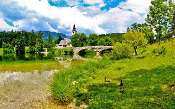 Фото бесплатно летний пейзаж, церковь, река